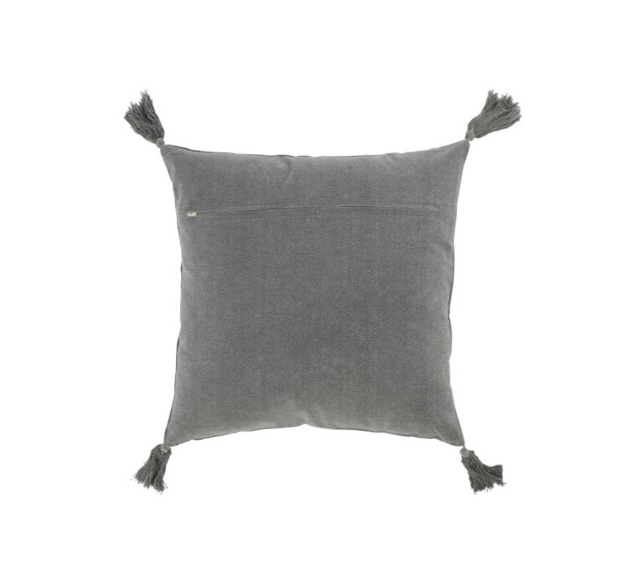 Cushion Square Cotton Tassels - Dark Gray