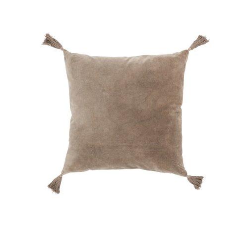 J -Line Cushion Square Cotton Tassels - Light brown