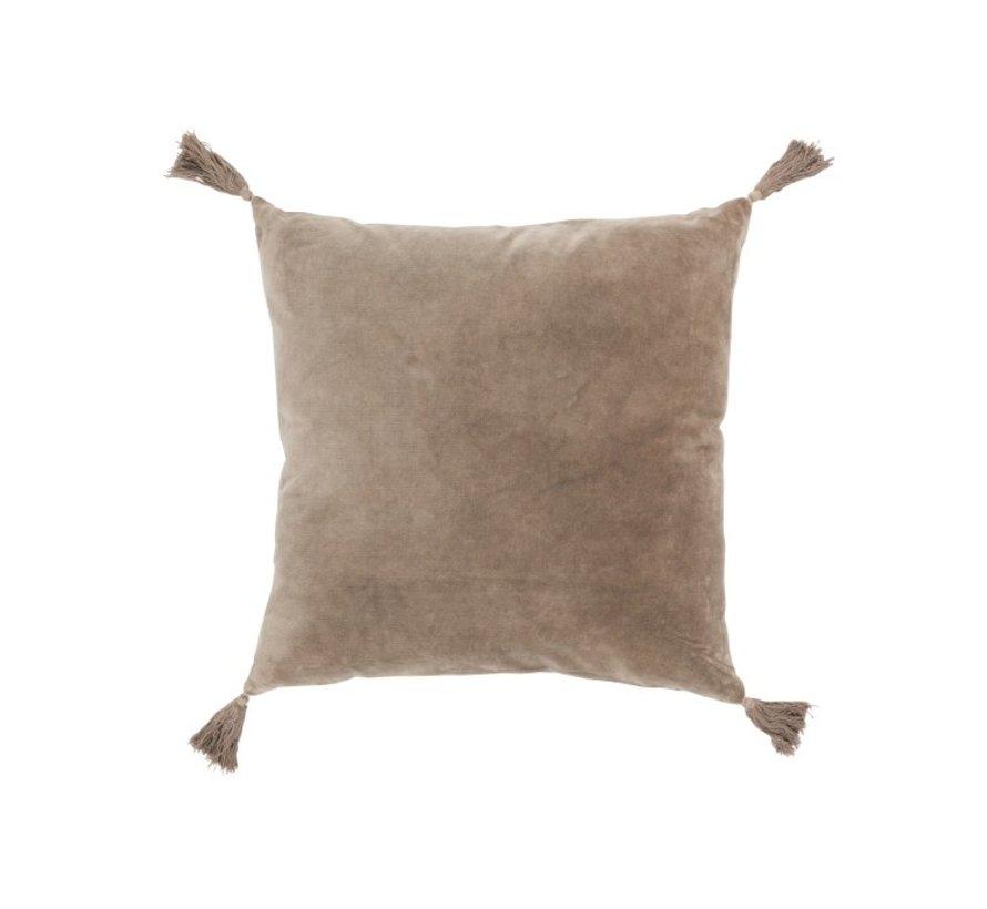 Cushion Square Cotton Tassels - Light brown