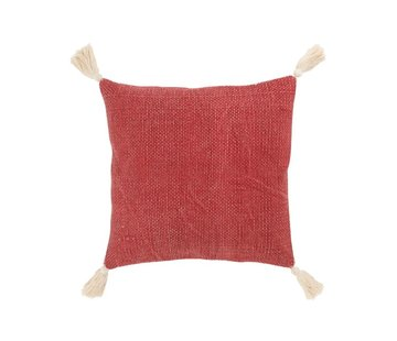 J -Line Cushion Square Cotton Tassels Red - White