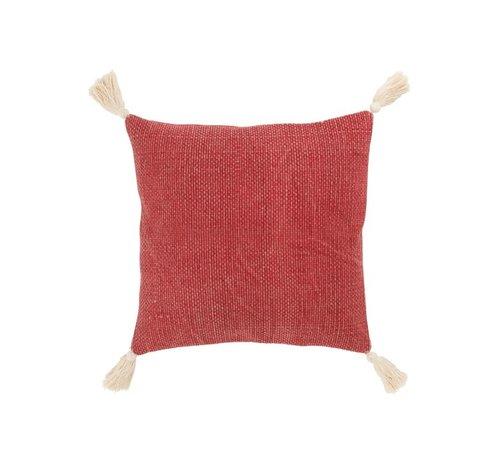 J -Line Cushion Square Cotton Tassels Red - White