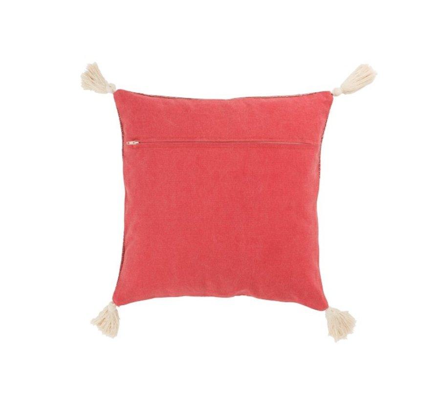 Cushion Square Cotton Tassels Red - White