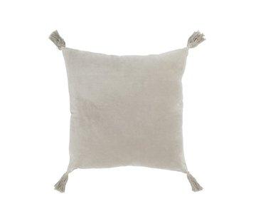 J -Line Cushion Square Cotton Tassels - Light Gray