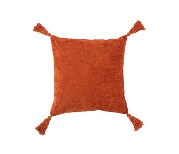 J -Line Cushion Square Soft Cotton Tassels - Orange