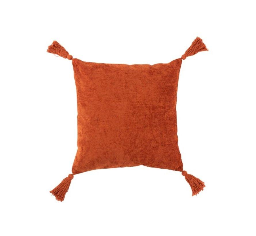 Kussen Vierkant Zacht Katoen Kwasten - Oranje
