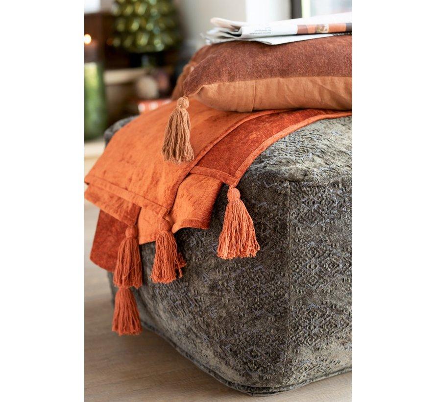 Cushion Square Soft Cotton Tassels - Orange