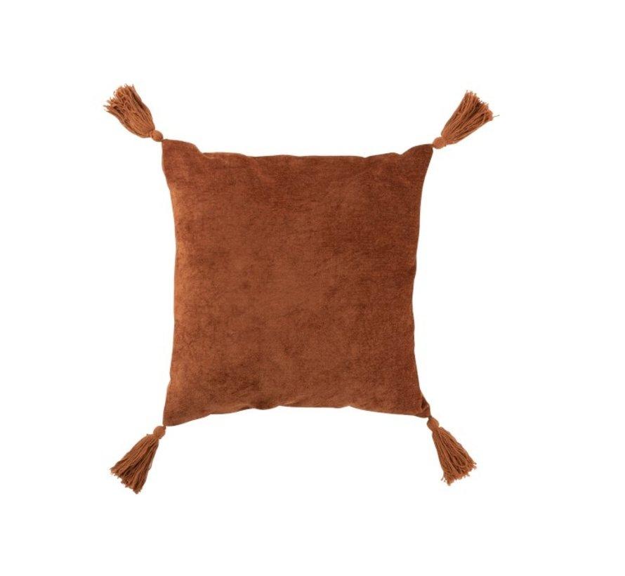 Cushion Square Soft Cotton Tassels - Rust