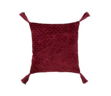 J-Line Cushion Square Soft Cotton Tassels - Dark Red