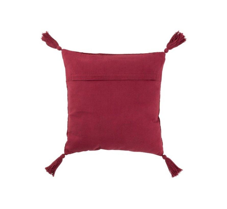 Cushion Square Soft Cotton Tassels - Dark Red