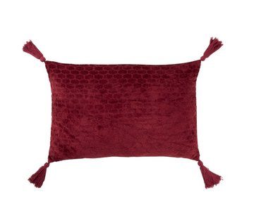 J -Line Cushion Rectangle Soft Cotton Tassels - Dark Red