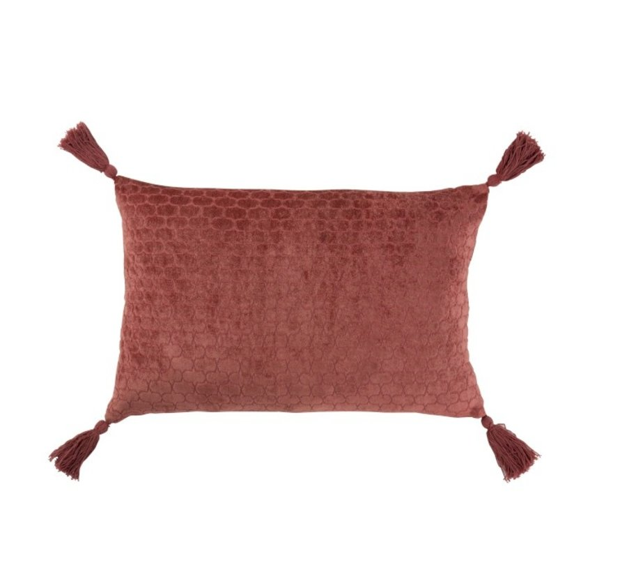 Cushion Rectangle Soft Cotton Tassels - Terracotta