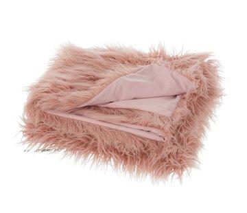 J-Line Plaid Extra Soft Long Fake Fur - Light pink