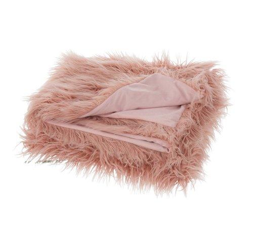 J -Line Plaid Extra Soft Long Fake Fur - Light pink