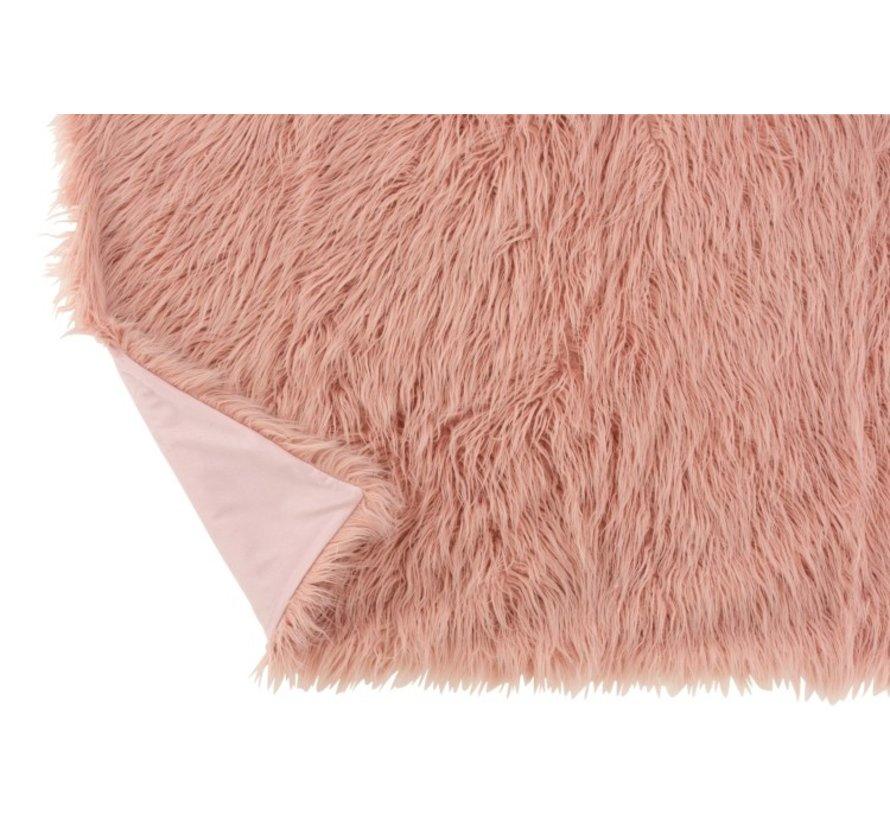 Plaid Extra Soft Long Fake Fur - Light pink