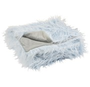 J -Line Plaid Extra Soft Long Fake Fur - Light Blue