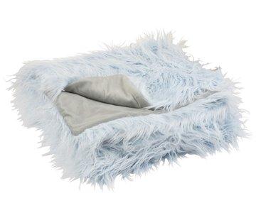 J -Line Plaid Extra Soft Long Fake Fur - Light Blue