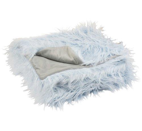 J-Line Plaid Extra Soft Long Fake Fur - Light Blue