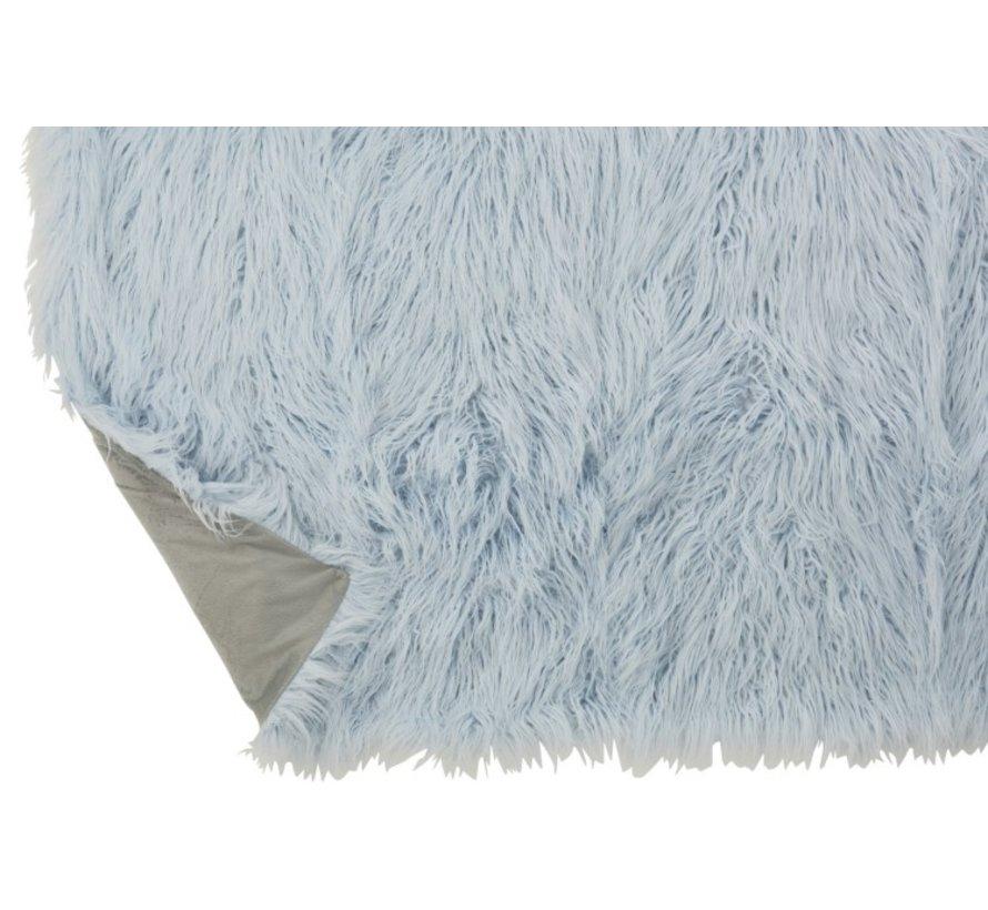 Plaid Extra Soft Long Fake Fur - Light Blue