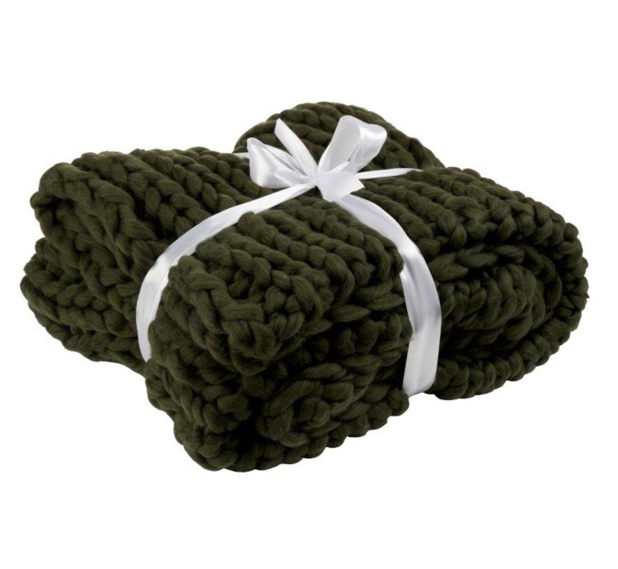 Plaid Extra Zacht Gebreid Textiel - Donkergroen
