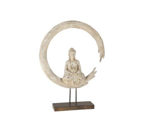 J -Line Decoratie Boeddha Op Cirkel Poly - Beige