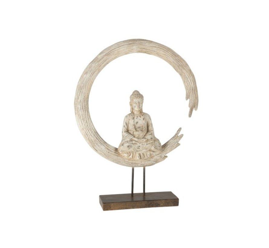 Decoration Buddha On Circle Poly - Beige