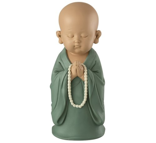 J-Line Decoration Monk Standing Pearls Pastel Green - Large