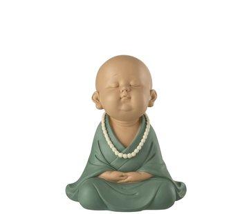 J -Line Decoration Monk Sitting Zen Pastel - Green