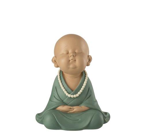 J-Line Decoration Monk Sitting Zen Pastel - Green
