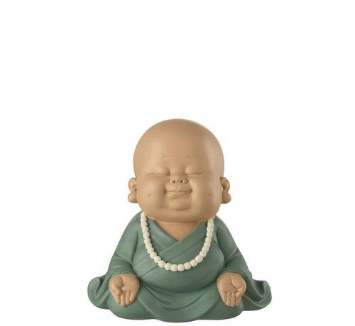 J -Line Decoration Monk Sitting Zen Pastel Green - Small