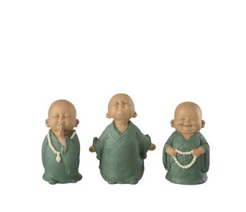 J-Line Decorative Funny Monks Pastel Green - Small