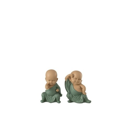 J-Line Decorative Monks Fight Art Pastel Green - Small