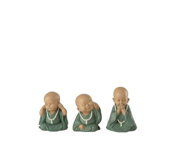J -Line Decorative Monks Hear See Silence Pastel - Green