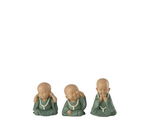 J -Line Decorative Monks Hear See Silence Pastel - Green