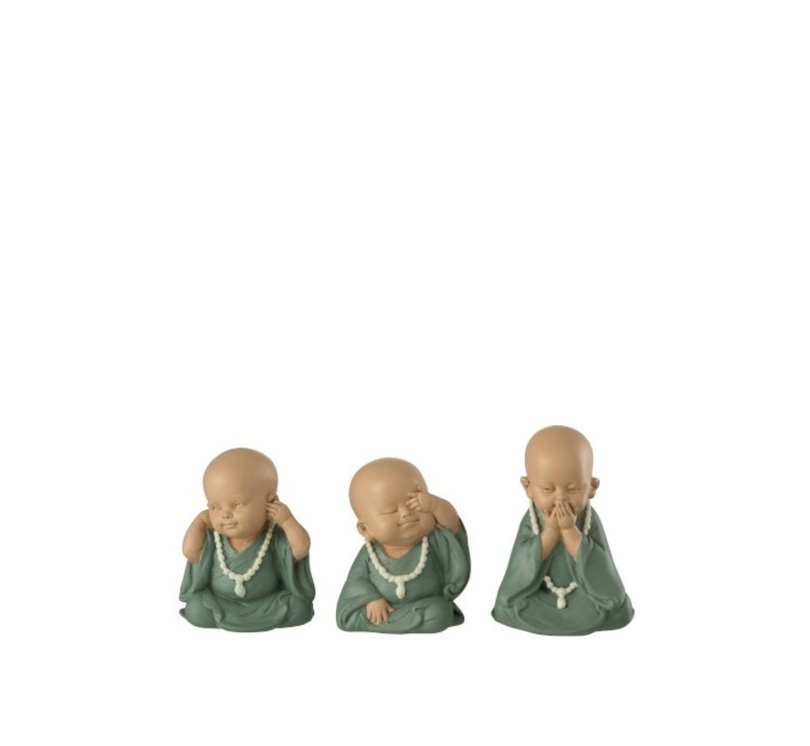 Decorative Monks Hear See Silence Pastel - Green