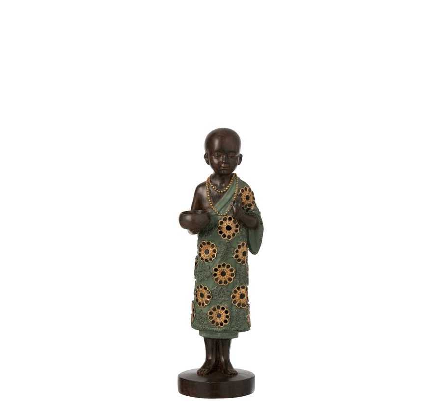 Tealight holder Monk Poly Green Gold - Small