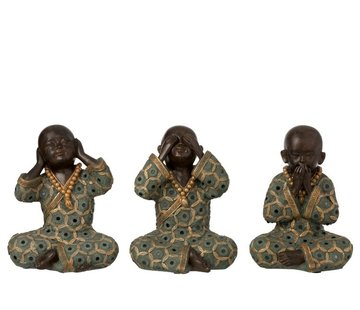J -Line Decoration Monks Hear See Silence Green Gold - Large