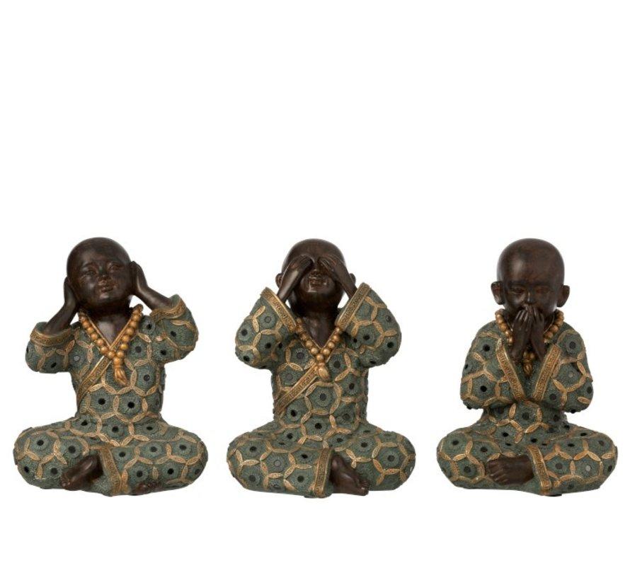 Decoratie Monniken Horen Zien Zwijgen Groen Goud - Large