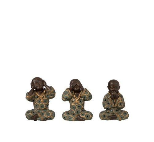J -Line Decoration Monks Hear See Silence Green Gold - Small