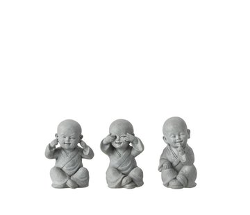 J-Line Decoration Monks Hear See Silence Gray - Small