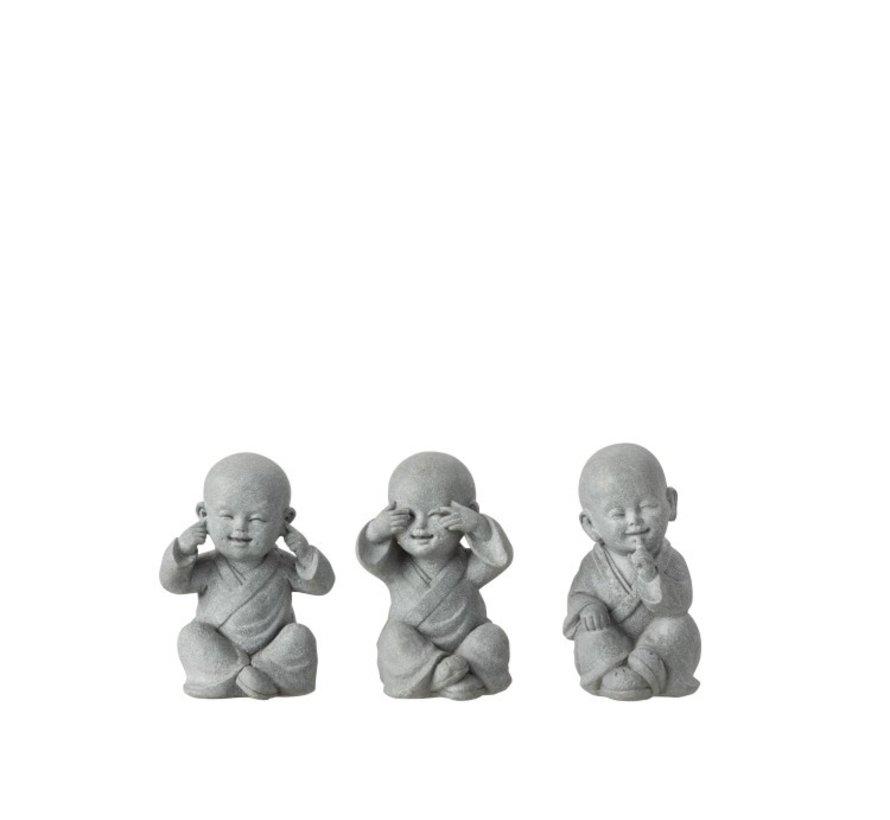 Decoratie Monniken Horen Zien Zwijgen Grijs - Small