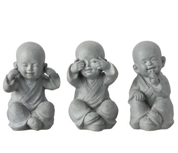 J-Line Decoration Monks Hear See Silence Gray - Large