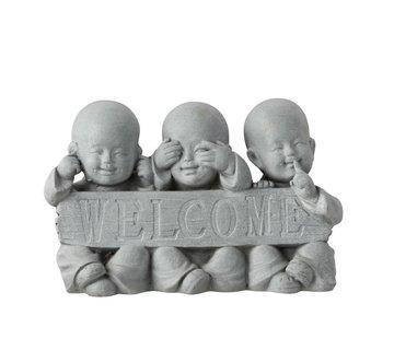 J-Line  Decoration Monks Welcome Hear See No Speak - Gray