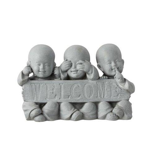 J -Line Decoration Monks Welcome Hear See No Speak - Gray