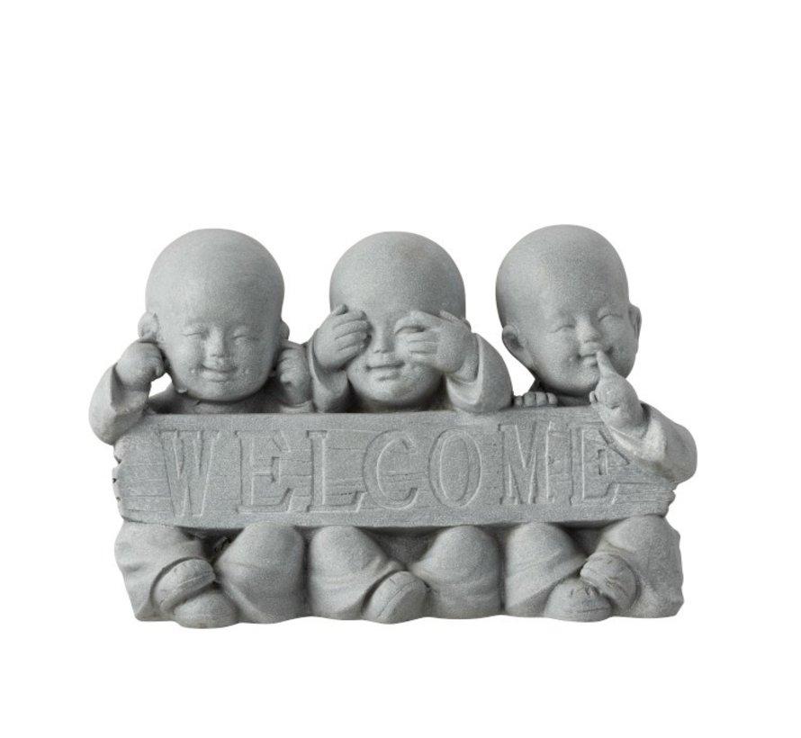Decoration Monks Welcome Hear See No Speak - Gray