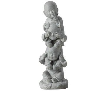 J-Line Decoration Monks Totem Hear See No Speak - Gray