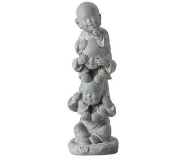 J -Line Decoration Monks Totem Hear See No Speak - Gray