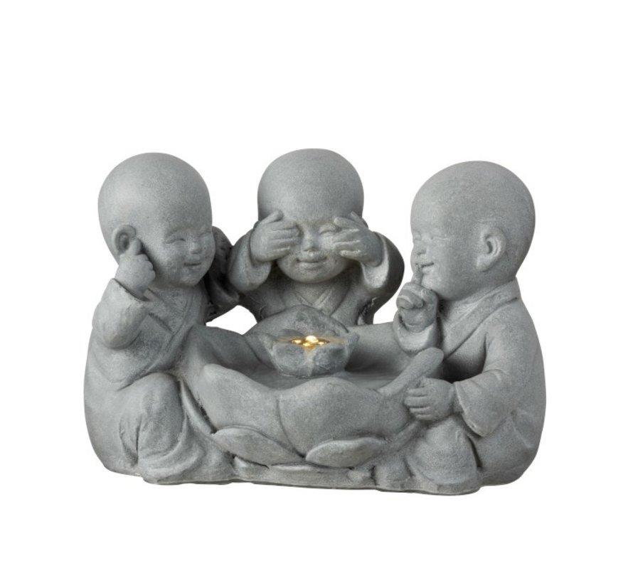 Decoration Monks Led Hear See Silence - Gray