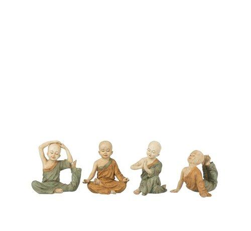 J -Line Decoratie Monniken Yoga Oker Groen - Small