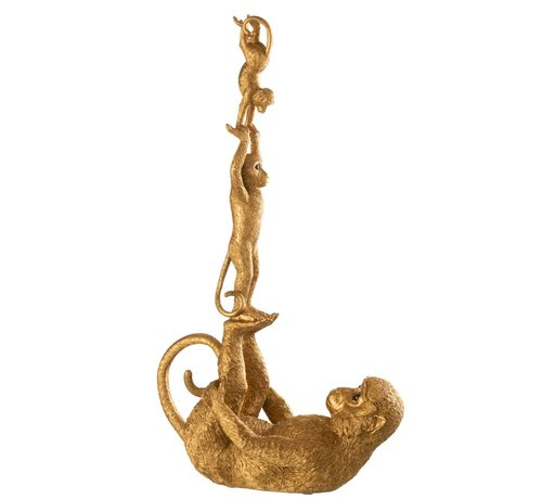 J -Line Decoration Figure Acrobatic Monkey With Children - Gold