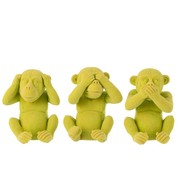 J -Line Decoration Figure Monkeys Hear See Silence - Yellow